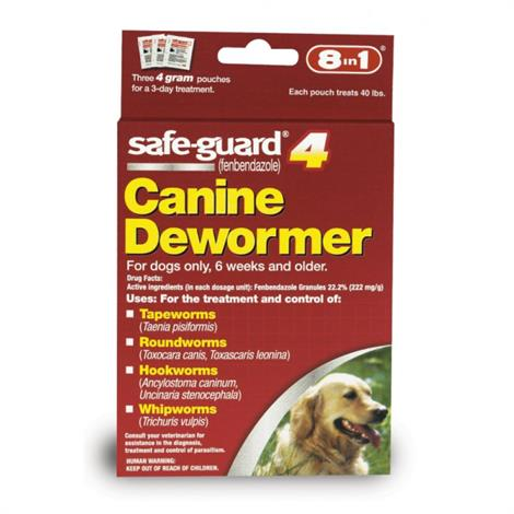 8 in 1 Products Safe-Guard 4 Canine Dewormer,Large - (3 x 4 Grams),Each,J7164-1