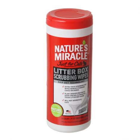 """Natures Miracle Just For Cats Litter Box Wipes,30 Count - (7"""" x 8"""" Wipes),Each,NM-5574"""