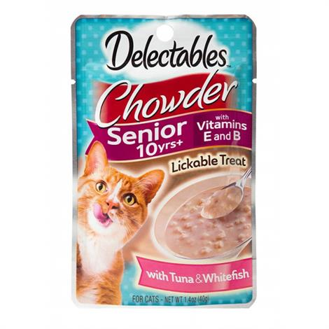 Hartz Delectables Chowder Senior Cat Treat - Tuna & Whitefish,1.4 oz,Each,3270015502