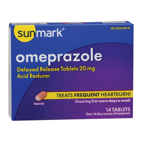 Mckesson Sunmark Omeprazole Tablets,Omeprazole Tablets,14/Pack,49348084646
