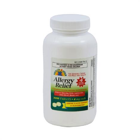 McKesson Allergy Relief Antihistamine Tablet,Strength 4mg,1000/Pack,12Pk/Case,784-10-HST