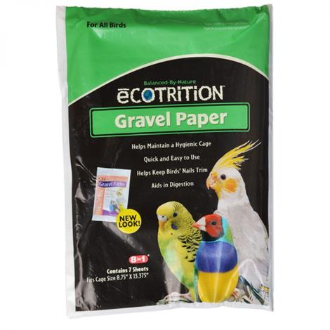 """Ecotrition Gravel Paper for All Birds,8-3/4"""" Long x 13-3/8"""" Wide,Each,C341"""