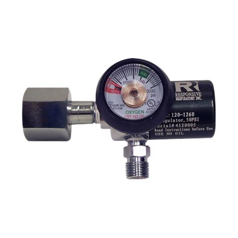 Responsive Respiratory EMS Oxygen Regulator - Preset 50 PSI,50 PSI EMS Regulator,Each,120-1260