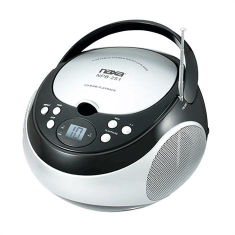 Naxa Portable CD Player with AM/FM Radio,Black,Each,NPB-251BK