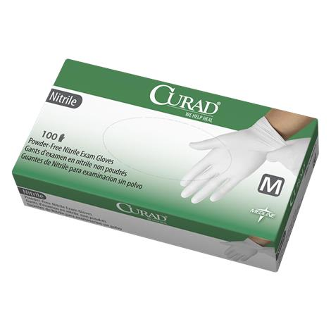 Medline Curad White Powder-Free Nitrile Exam Gloves,Small,600/Case,CUR8414
