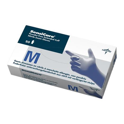 Medline SensiCare Powder-Free Extended Cuff Nitrile Exam Gloves,Large,500/Csae,MDS1286