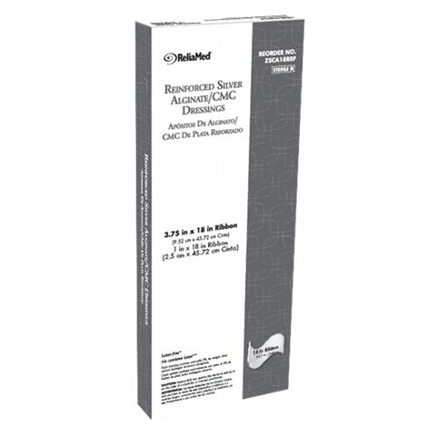 "Cardinal Health Reinforced Silver Alginate CMC Dressing,1"" x 18"" Ribbon,5/Pack,ZSCA18R"