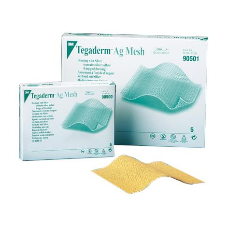 "3M Tegaderm Ag Mesh Dressing with Silver,2"" x 2"",5/Pack,90500"