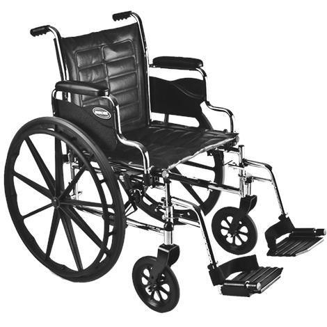 "Invacare Tracer EX2 20"" x 16"" Removable Full Length Arm Wheelchair,Seat 20""W x 16""D,Each,TREX20RFP"