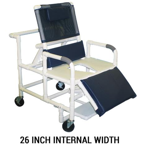 MJM International Bariatric Reclining Shower Chair with Full Support Commode Seat