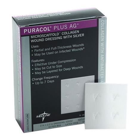 "Medline Puracol Plus AG Collagen Dressing with Silver,2"" x 2.25"" (5.1cm x 5.7cm),10/Pack,MSC8722EPZ"