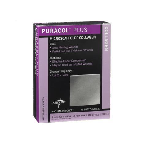 "Medline Puracol Plus Collagen Dressing,2"" x 2.5"" (5.1cm x 5.7 cm),10/Pack,MSC8622EPZ"