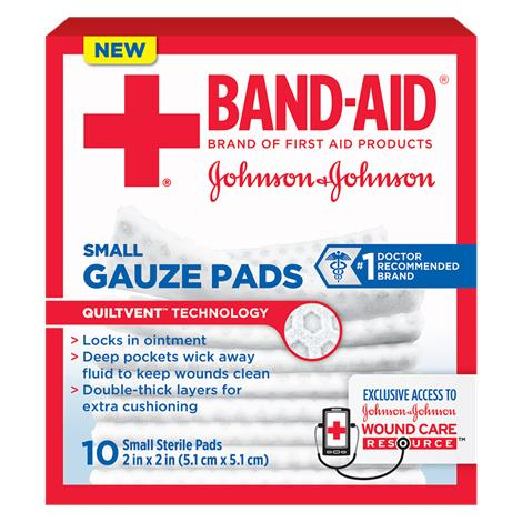 Johnson & Johnson Band-Aid Gauze Pads,Small,2 L x 2 W,10/Pack,111656900