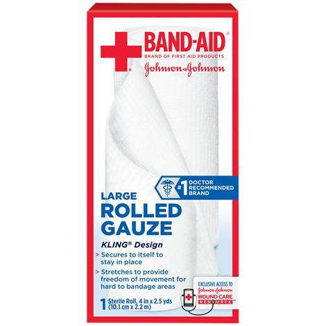 Johnson & Johnson Band-Aid Rolled Gauze,2-1/10 yds L x 3 W,5/Pack,111614000