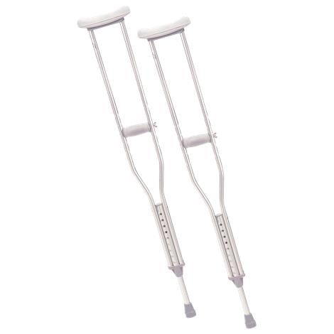 "Cardinal Health Push Button Aluminium Axillary Crutch,Tall,70"" - 78"",2/Pack,8pk/Case,CA901TL"