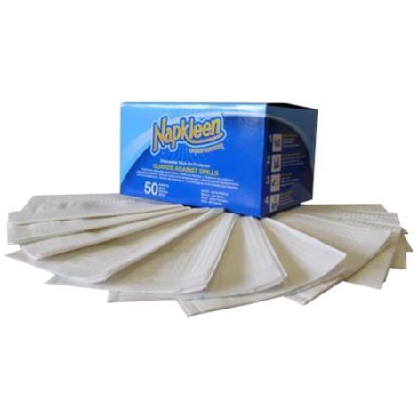 """Napkleen Disposable Bib,13"""" x 18"""",50Pack,12Pk/Case,VMP13181BLUE"""
