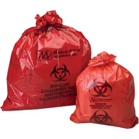 Medical Action Biohazard Waste Disposal Bag,11 x 14,Capacity: 1 to 3 gallon,Gauge: 1.2mil,1000/Case,ACM2214