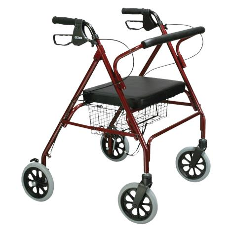 Drive Go-Lite Bariatric Steel Four Wheel Rollator,Red,Each,10215RD-1