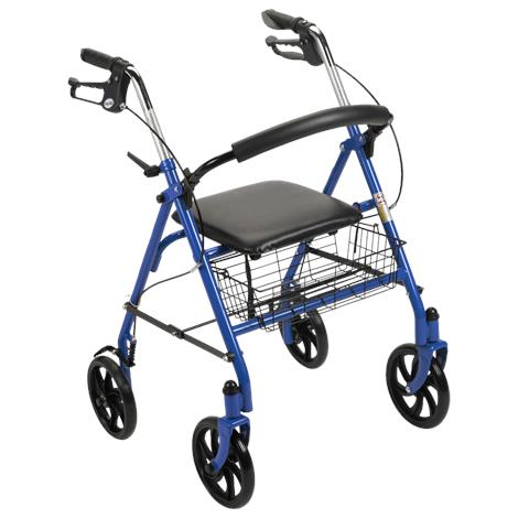 Drive Durable Steel Four Wheel Rollator With Fold Up Removable Back,Blue,Each,10257BL-1