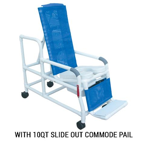 MJM International Tilt N Space Shower Commode Chair with Open Front Soft Seat and Double Drop Arm,0,Each,193-TIS