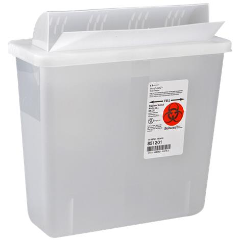Covidien Kendall In-Room Sharps Containers with Always Open Lid,12qt,Clear,10/Case,85221