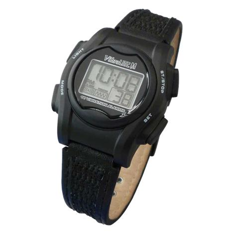 Global Assistive VibraLITE Mini Vibration Watch,Black and Orange Nylon and Polyurethane Hook and Loop Watch Strap,Each,VM-VOR