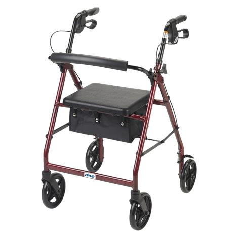Drive Aluminum Rollator With Fold Up and Removable Back Support and Casters,Blue,Each,R728BL