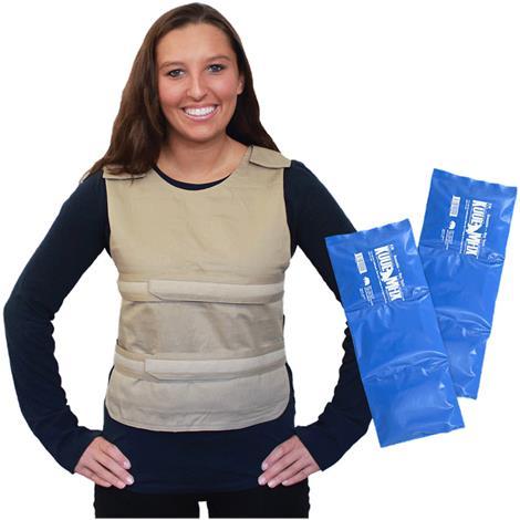 Polar Kool Max Adjustable Poncho Cooling Vest with Long Kool Max Pack Strips,Khaki,Each,PCV-KM