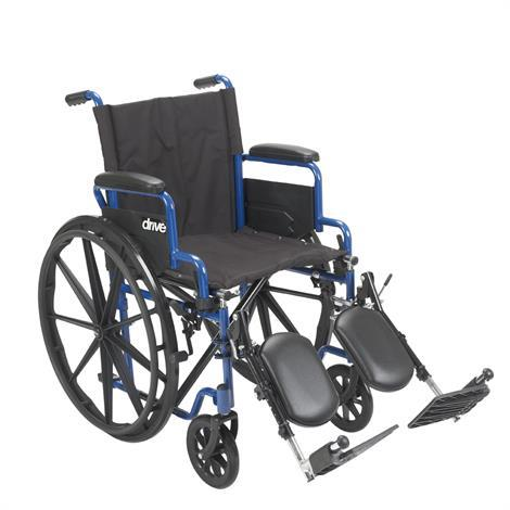 "Drive Blue Streak Single Axle Wheelchair- 18"" Seat Width,18"" Wheelchair with Elevating Leg rest,Each,ELR BLS18FBD"