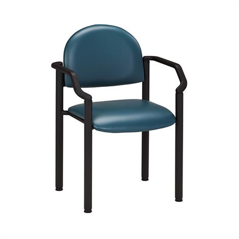 Clinton Black Frame Side Chair with Arms and Wall Guard,Allspice (3AS),Each,C-50B