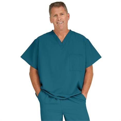 Medline Fifth Ave Unisex Stretch Fabric V-Neck Scrub Top with One Pocket - Caribbean Blue,X-Small,Each,5910NVYXS