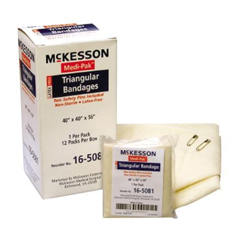 "McKesson Medi-Pak Muslin Non-Sterile Triangular Bandage,40"" x 40"" x 56"",12/Pack,16-5081 16503001"