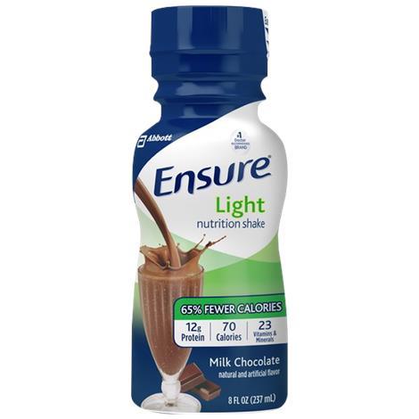 Abbott Ensure Light Ready-To-Drink Shake,Milk Chocolate,8fl. oz (237mL) Bottle,24/Case,64121