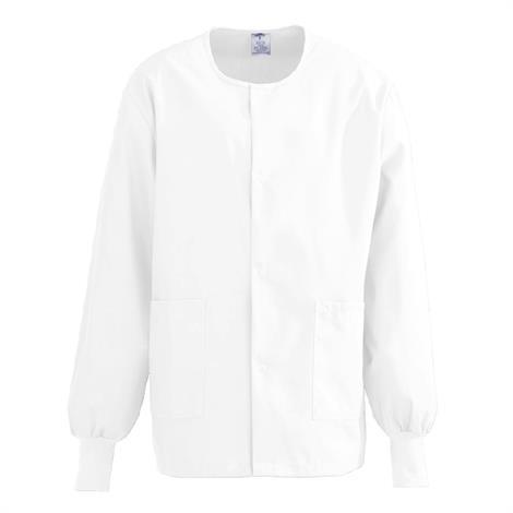 Medline ComfortEase Unisex Crew Neck Warm-Up Jacket - White,5X-Large,Each,8832XTQ5XL