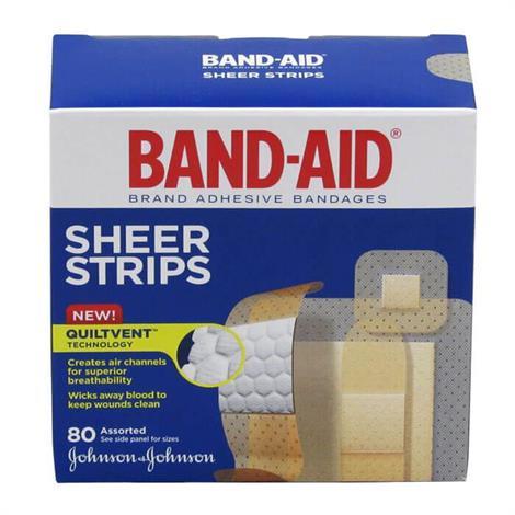 "Johnson & Johnson Band-Aid Sheer Strip Assorted Adhesive Bandage,4"" x 4"" x 1.8"",80/Pack,117134"