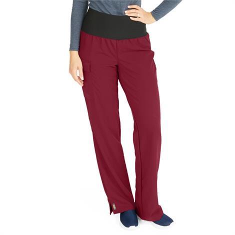 Medline Ocean Ave Womens Stretch Fabric Support Waistband Scrub Pants - Wine,X-Large,Regular Inseam,Each,5560WNEXL