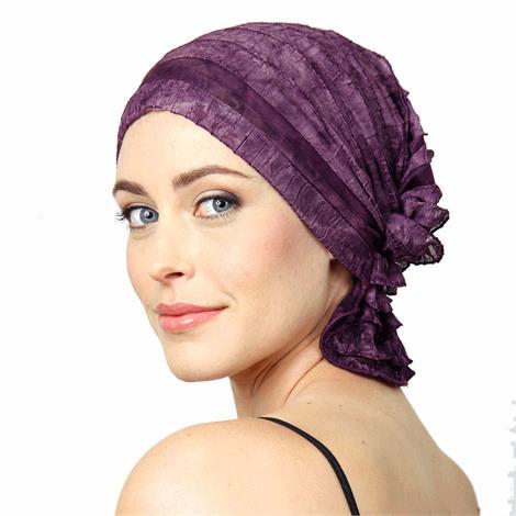 Chemo Beanies Danielle Purple Wine Dye Ruffle,Danielle Purple Wine Dye Ruffle,Each,6058