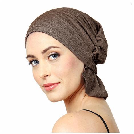 "Chemo Beanies Tanya Sepia Crinkle Chiffon Ruffle,9"" x 6"" x 1"",Each,3387"