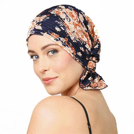 Chemo Beanies Audrey Navy Floral Pleated Knit Head Scarf,Head Scarf,Each,6300