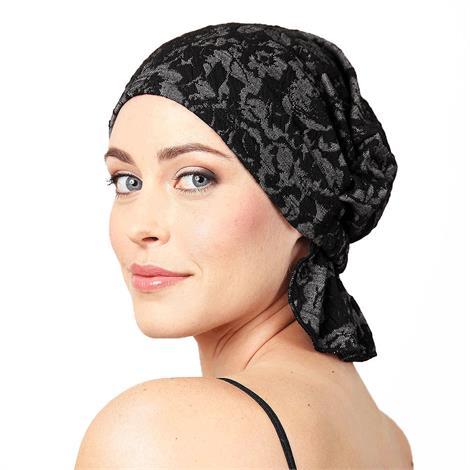 Chemo Beanies Rose Black Floral Jacquard Head Scarf,Rose Black Floral Jacquard Head Scarf,Each,6164