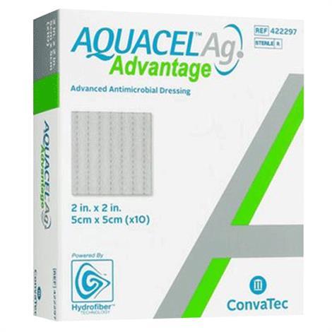 "ConvaTec Aquacel Ag Advantage Wound Dressing,2"" x 2"",10/Pack,422297"