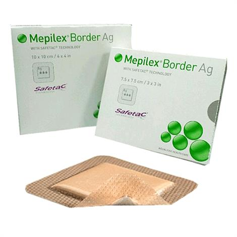 """Molnlycke Mepilex Border Ag Foam Dressing,3"""" X 3"""" (7.5cm x 7.5cm),5/Pack,395290"""