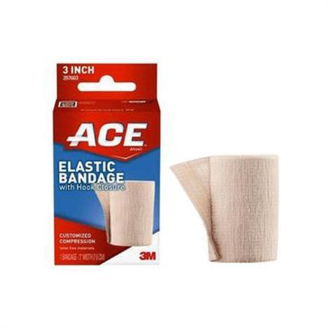3M ACE Elastic Bandage With Hook Closure,Elastic Bandage With Hook Closure 3 Beige,Each,88207603