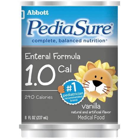 Abbott PediaSure 1.0 Cal Enteral Complete Balanced Drink,Ready to Feed,Vanilla Institutional,8fl oz,Can,24/Case,5267401