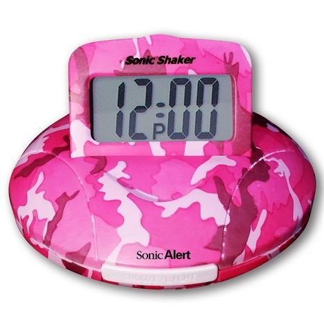 "Sonic Shaker Pink Camouflage Vibrating Travel Alarm Clock,3-3/4"" Diameter,Each,SA-SBP100C SA-SBP100C"