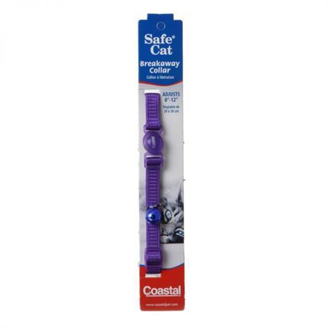 "Coastal Safe Cat Nylon Adjustable Breakaway Collar - Purple,8""-12"" Neck,Each,7001PR"