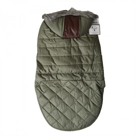 "Fashionoutdoor Dog Leather Detail Dog Coat - Olive Green,Medium - (Fits 14""-19"" Neck To Tail),Each,#752185"