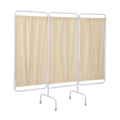 """R&B Stationary Three Panel Privacy Screen With Crutch Tips,81""""W x 67""""H,Cream,Each,PSS-3/AML"""
