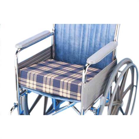 """Complete Medical Plaid Foam Wedge Wheelchair Cushion,16"""" x 18"""" x 3"""" to 1,Each,WC4453"""