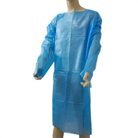 BodyMed Non-Surgical Isolation Gown,Light Blue,10/Pack ,BDMGOWNL1KT